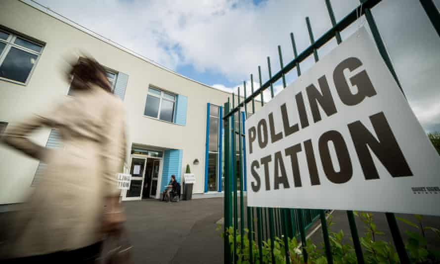 Entrance to a polling station in Lewisham, England
