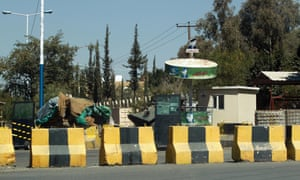 Concrete blocks and security barriers outside the US embassy in the Yemeni capital, Sana'a