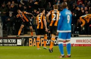 Hull City's Abel Hernandez celebrates scoring their second goal.