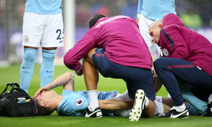 John Stones receives treatment before being substituted at Leicester on Saturday. The England defender is unlikely to play again before the new year.