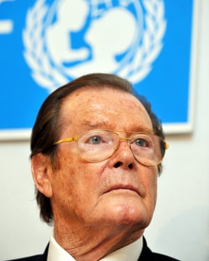 Roger Moore during a Unicef press conference in Germany, 2010. He served as a goodwill ambassador and was knighted for his humanitarian work.
