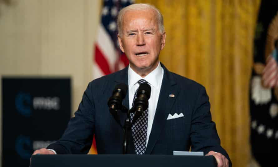 Joe Biden delivers remarks at a virtual event hosted by the Munich Security Conference, at the White House on Friday in Washington DC.