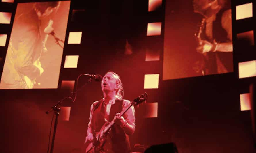 Lead singer Thom Yorke of the British band Radiohead performs on stage during a concert at the Zenith concert hall