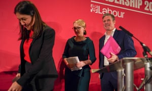 Lisa Nandy, Rebecca Long-Bailey and Keir Starmer leave the stage after the final leadership hustings in Durham on Sunday.
