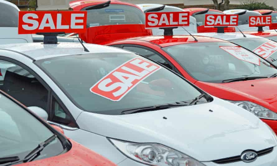 Used cars on sale on a dealership forecourt