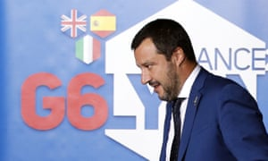 Italy's deputy prime minister, Matteo Salvini, arrives at the G6 interior ministers' meeting in Lyon, central France.