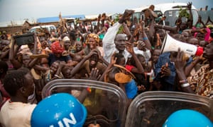 Internally Displaced People (IDP) demonstrate in Juba on Wednesday.
