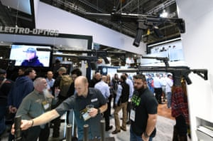 Firearms are displayed at the Sig Sauer booth