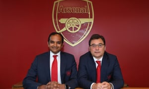 Arsenal managing director Vinai Venkatesham, left, and head of football, Raul Sanllehi are committed to the Premier League