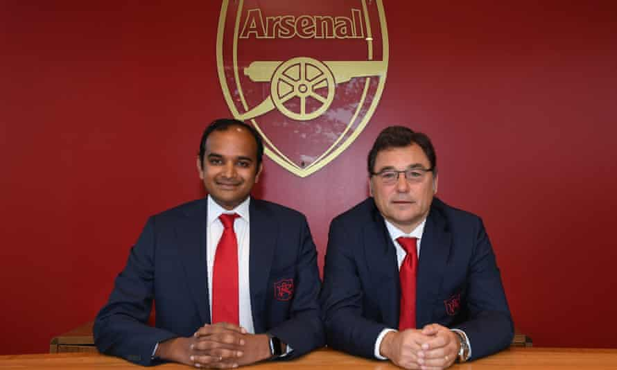 Vinai Venkatesham, left, and Raúl Sanllehí have big ambitions for Arsenal.