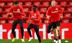 Patson Daka, a signing from Zambia, and Erling Braut Haaland, right, prepare for the Champions League game at Liverpool with Cican Stankovic, left.