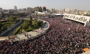 Protest Tahrir Square in Baghdad.