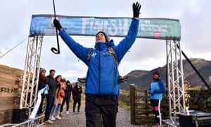 Greg James completes his Radio 1 Gregathlon for Sport Relief.