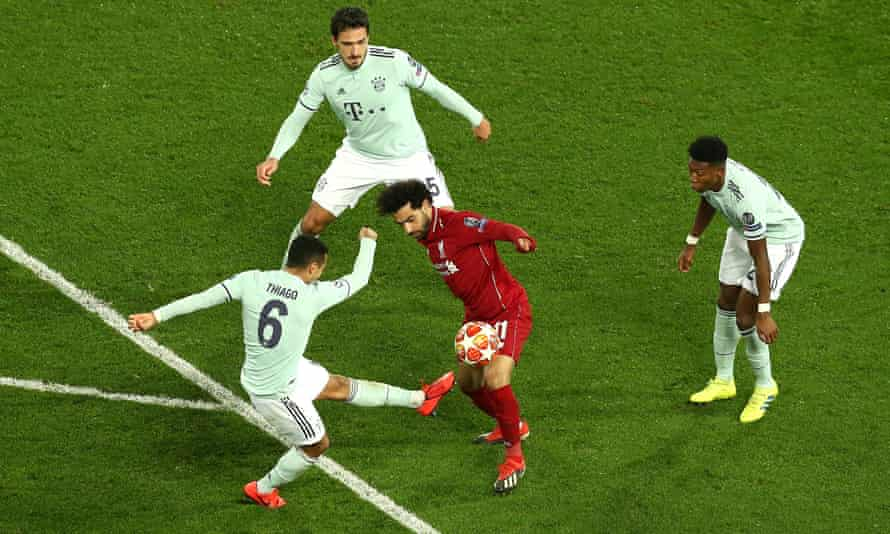 Mohamed Salah battles for the ball in the 0-0 draw with Bayern Munich in February.