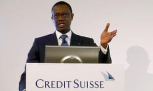 Tidjane Thiam, Credit Suisse chief executive, in Zürich.