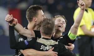 Matthijs de Ligt celebrates after his goal helped Ajax reach the last four in Turin.