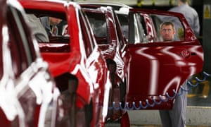 Nissan's Car Manufacturing Plant In SunderlandSUNDERLAND, ENGLAND - JANUARY 24: A technician assembles a Nissan car on the production line at Nissan's Sunderland plant on January 24, 2013 in Sunderland, England. The Japanese manufacturer's factory employs 6,225 people producing the Juke, Note and Qashqai models. In 2012 the Wearside facility built 510,572 cars to become the first ever UK automobile plant to have produced more than half a million cars in a year, which was 34.8 percent of the cars produced in the whole of the UK for 2012. (Photo by Christopher Furlong/Getty Images)
