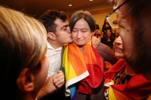 Senator Penny Wong breaks down in Parliament House after the announcement of the same sex marriage survey.