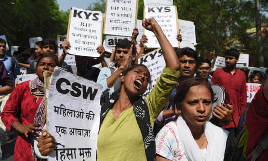 Activists protest in New Delhi after a series of rape cases in 2018 but India remains the most unsafe country for women in the world.
