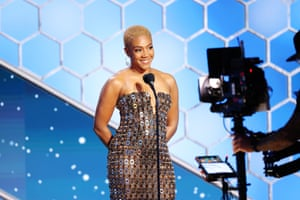 Tiffany Haddish presents at the Golden Globe awards