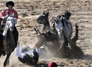 A Buzkashi game at the 2016 World Nomad Games