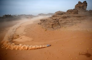 A Toyota car during stage 10 of the Dakar rally, between Neom and Alula in Saudi Arabia