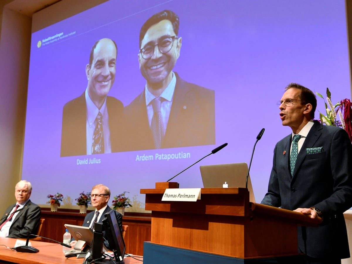 2021 Nobel Prize in physiology or medicine goes to David Julius and Ardem Patapoutian