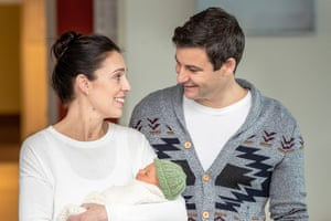 Jacinda Ardern and Clarke Gayford introduce their baby daughter outside Auckland hospital on Sunday.