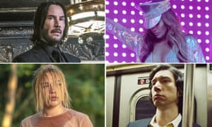 From clockwise: Keanu Reeves in John Wick 3, Jennifer Lopez in Hustlers, Adam Driver in Marriage Story and Florence Pugh in Midsommar