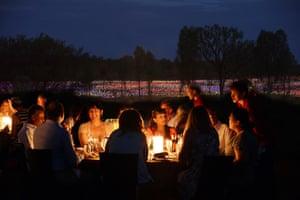 Dining at Bruce Munro's Field of Light Uluru installation at Uluru, Northern Territory