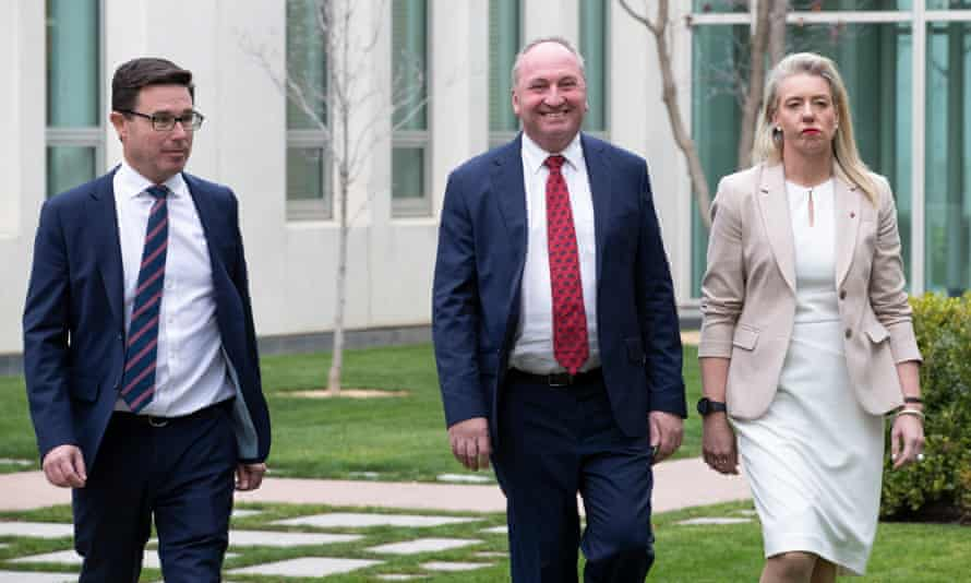 National party leader Barnaby Joyce (middle) has rewarded his key supporters, including David Littleproud (left) and Bridget McKenzie (right), in his ministerial reshuffle on Sunday.