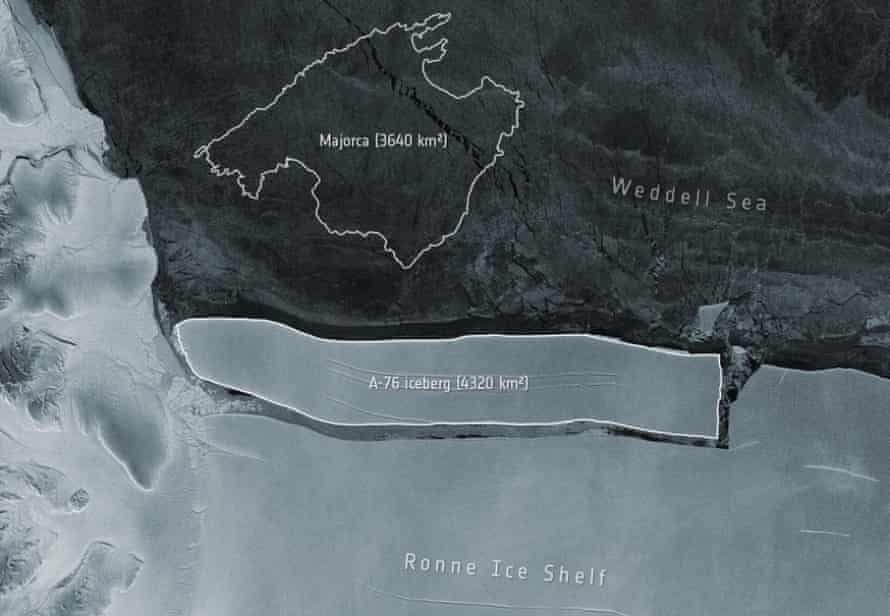 An image from the European Space Agency showing the A-76ceand how it compares in size to Majorca.
