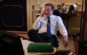 David Cameron on the telephone in his office in Downing Street, 2012.