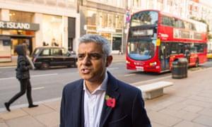 Sadiq Khan speaks to the media on Oxford Street on Monday.