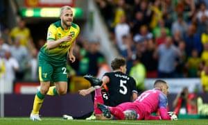 Teemu Pukki celebrates scoring the winner for Norwich