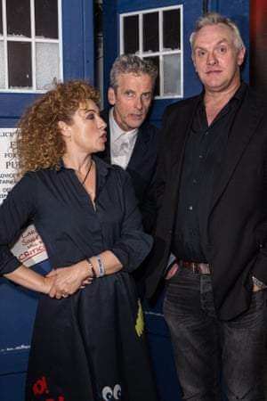 Alex Kingston, Peter Capaldi and Greg Davies, stars of the 2015 Doctor Who Christmas special.
