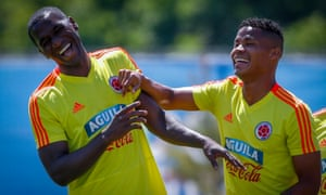 440f6982c Cristian Zapata (left) and Wilmar Barrios (right) enjoy a joke during  Colombia