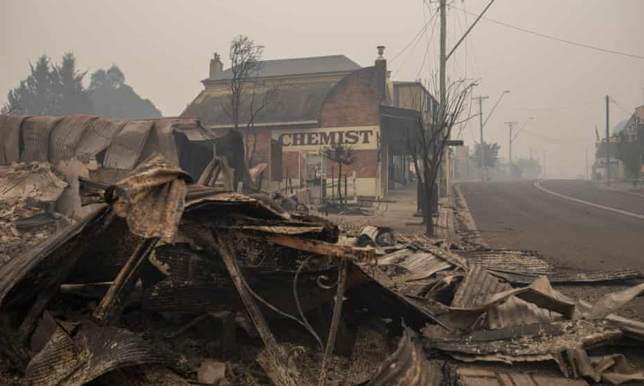 Destroyed buildings in Cobargo, New South Wales