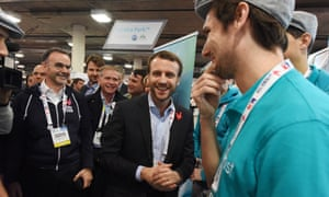 Emmanuel Macron visiting French technology startups in Las Vegas last year