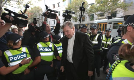 Cardinal George Pell arriving at court in Melbourne in May.