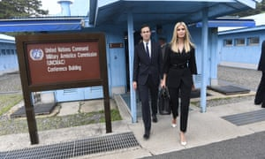 Ivanka Trump and Jared Kushner, walk in the border village of Panmunjom in the Demilitarized Zone, South Korea.