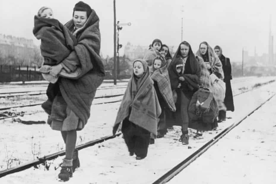 Refugees trek from Lodz, Poland, to Berlin, December 1945.