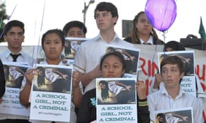 Yeronga state high school students at a rally in support of Mojgan Shamsalipoor at Musgrave Park in Brisbane last year