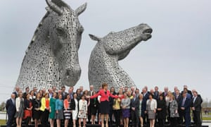 Nicola Sturgeon with all the SNP's MSPs in front of the Kelpies statues in Falkirk