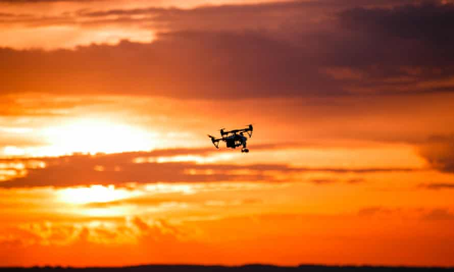 A drone at sunset. Sources say the theory is that it could be relatively easy to pilot a covert craft under the cover of darkness.