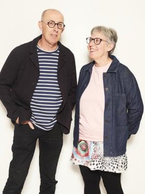 ChrisBolton, 62, Ex-teacher; and Angie Bolton, 53, NHS ManagerNavy jacket, £89, navy striped t-shirt, £35, pink t-shirt, £22, and indigo jacket, £89