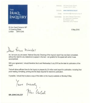 Chilcot's letter to Cameron