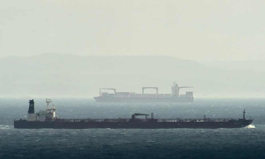 Dirty business: cargo ships in the English Channel.