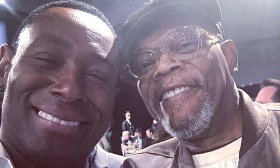 David Harewood's selfie with Samuel L Jackson at the Film Independent Spirit awards.