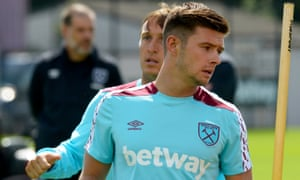 Aaron Cresswell, front, back in training at West Ham with Mark Noble. Both could find their England chances improve if their former club manager Sam Allardyce takes over.
